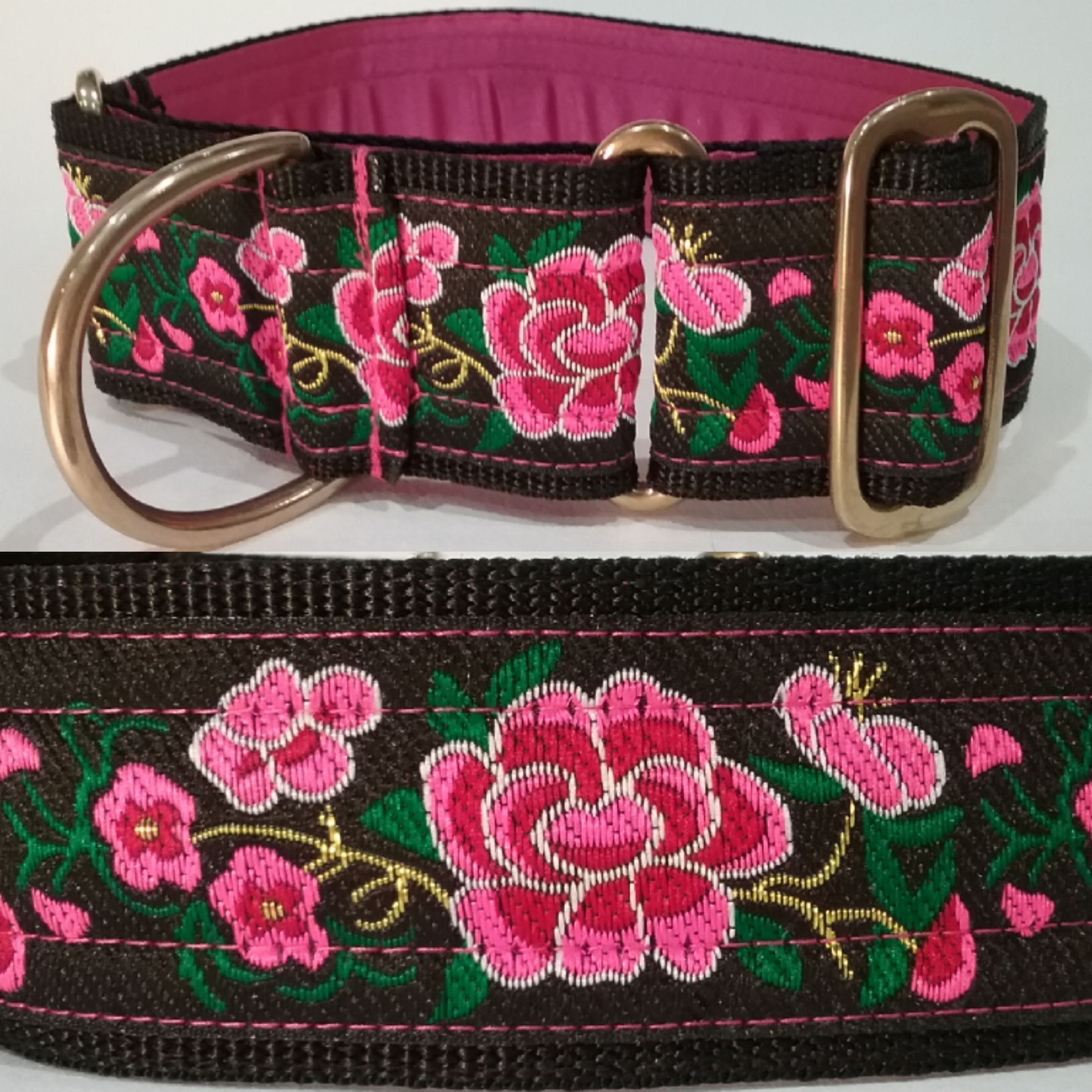 "Martingale Collar 50mm - Lotus with Pink flowers - Pink lining - 18"" Max"