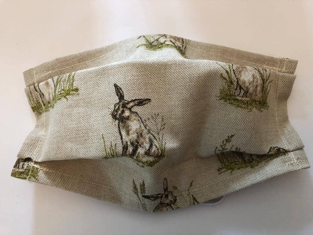 Cotton/Linen Face Mask - Hare Design