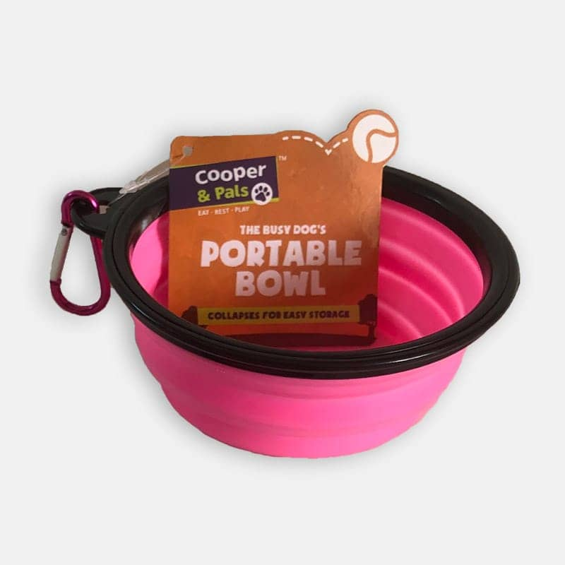 Collapsible Water Bowl - Portable Pink