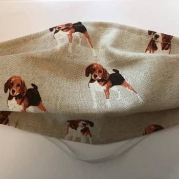 Cotton/Linen Face Mask - Harrier/Beagle Design