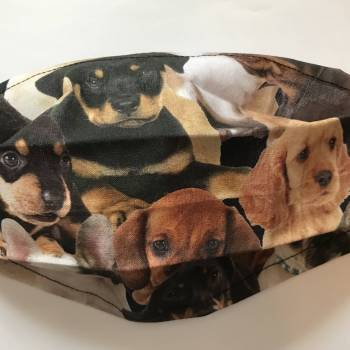 Cotton face mask - Mixed Breed Puppies design