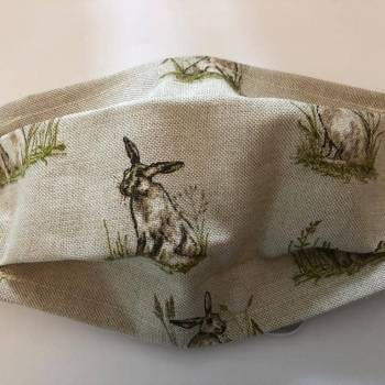 Cotton/Linen Face Mask - Hare with Grass Design
