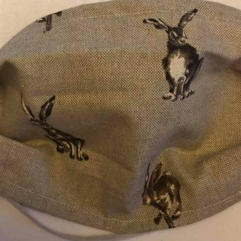 Cotton/Linen 'Hare' Design Face Mask