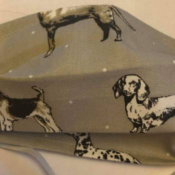 Cotton/Linen 'Mixed Hound Design' Face Mask'