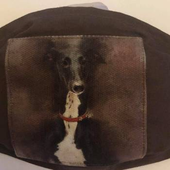 Cotton Patch/Plain Background 'Sitting Greyhound' Design Face Mask