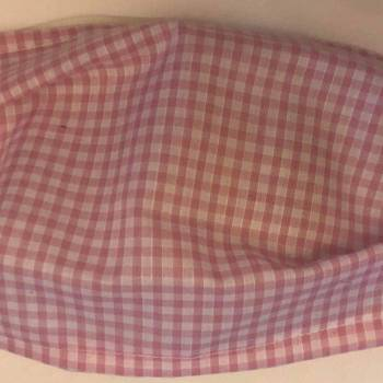 Pink Cotton Gingham Design Face Mask