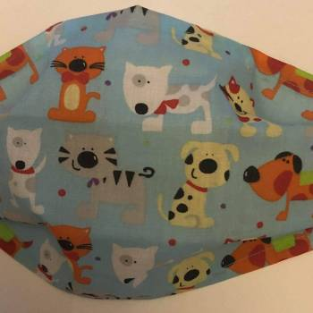 Cotton 'Hound' Design Pale Blue Face Mask (Red listed separately)