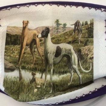Cotton Patch/Plain Background 'Greyhound Friends' Design Face Mask