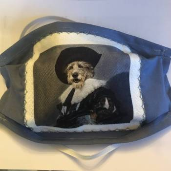 Cotton Patch/Plain Background 'Cavalier Lurcher' Design Face Mask