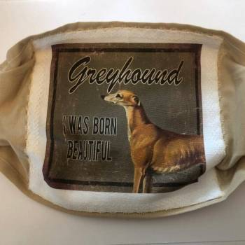 Cotton Patch/Plain Background Greyhound 'I was Born Beautiful@ Face Mask