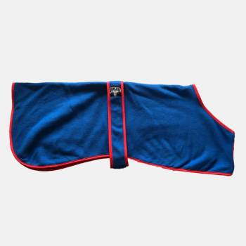 blue and red polar fleece coat