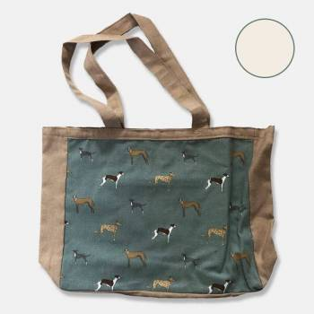 Cotton Lined Tote Bag with Greyhound Panel