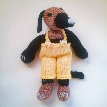 Knitted Greyhound Puppy (Not Dog Toy) - Black with Tan, Yellow Dungaree