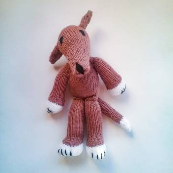 Knitted Greyhound Puppy (Not Dog Toy) - Tan with White, No Dungaree