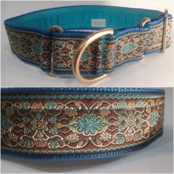 "Martingale Collar 40mm - Blue Mystery with Brown - Turquoise lining - 16"" Max (#0010011)"