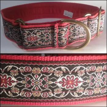 "Martingale Collar 40mm - Red Mystery with Black - Red lining - 16"" Max (#0010012)"