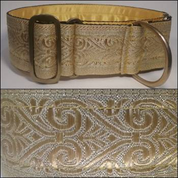 "Martingale Collar 50mm - Gold Fleur - Gold lining - 18"" Max (#0010006)"