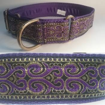 "Martingale Collar 40mm - Scroll with Purple - Purple lining - 16"" Max (#0010025)"