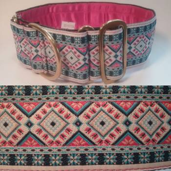 "Martingale Collar 50mm - Diamed with Blue/Pinks - Pink lining - 18"" Max (#0010004)"