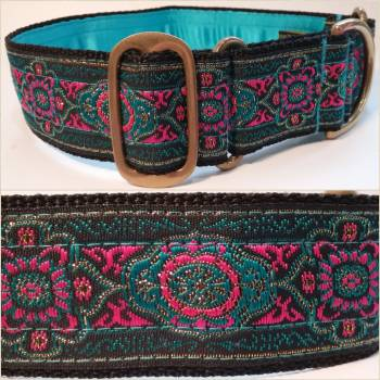 "Martingale Collar 40mm - Blue/Pink Raffles - Turquoise lining - 16"" Max (#0010010)"