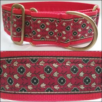 "Martingale Collar 50mm - Tulips with Reds - Red lining - 18"" Max (#0010008)"