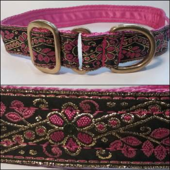 "Single Loop Collar 25mm - Go Pink Flowers -Pink lining - No Release Clip - 16"" Max (#0010018)"