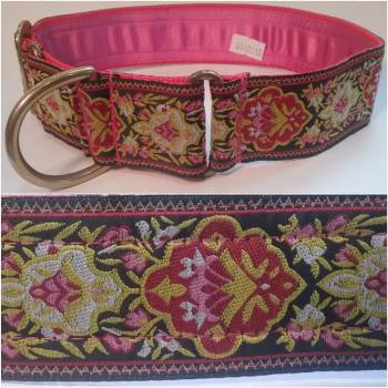 "Martingale Collar 40mm - Blooms Red/Black - Pink lining - 16"" Max (#0010013)"