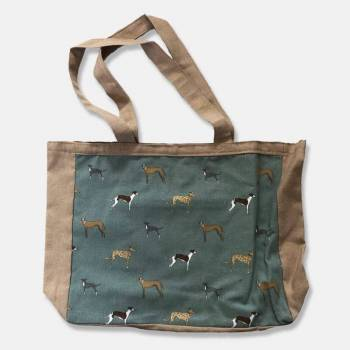 Cotton Tote Bag with Greyhound Panel, Pocket and Lining