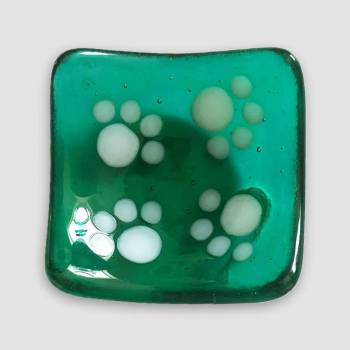 Pin Dish Green Glass with paw print design