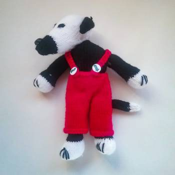 Knitted Greyhound Puppy (Not Dog Toy) - Black with White, Red Dungaree (#0220001)