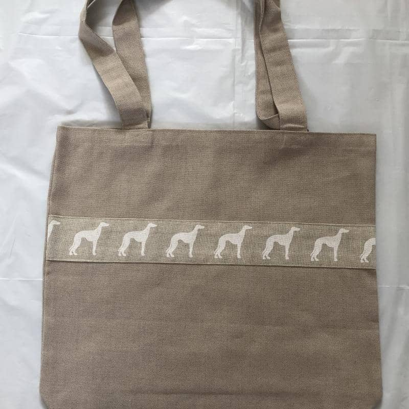 Cotton Greyhound Design Tote Bag